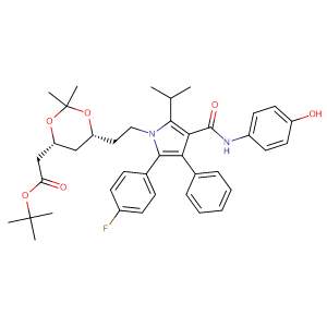 tert-butyl 2-[(4R,6R)-6-{2-[2-(4-fluorophenyl)-4-[(4-hydroxyphenyl)carbamoyl]-3-phenyl-5-(propan-2-yl)-1H-pyrrol-1-yl]ethyl}-2,2-dimethyl-1,3-dioxan-4-yl]acetate,CAS No. 265989-36-4.