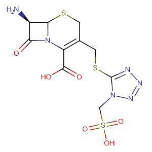 (6R-trans)-7-Amino-8-oxo-3-(((1-(sulphomethyl)-1H-tetrazol-5-yl)thio)methyl)-5-thia-1-azabicyclo[4.2.0]oct-2-ene-2-carboxylic acid,CAS No. 61270-71-1.