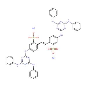 Benzenesulfonic acid, 2,2\'-(1,2-ethenediyl)bis[ 5-[[4,6-bis(phenylamino)-1,3,5-triazin-2-yl]amino ]-, disodium salt,CAS No. 133-66-4.