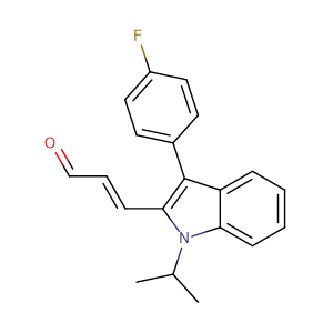(E)-3-(3-(4-Fluorophenyl)-1-isopropyl-1H-indol-2-yl)acrylaldehyde,CAS No. 93957-50-7.