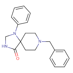 8-Benzyl-1-phenyl-1,3,8-triaza-spiro[4.5]decan-4-one,CAS No. 974-41-4.