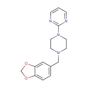 2-(4-(Benzo[d][1,3]dioxol-5-ylmethyl)piperazin-1-yl)pyrimidine,CAS No. 3605-01-4.