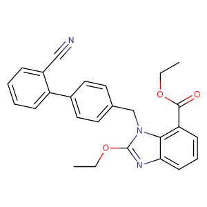 Ethyl -2-ethoxy-1-[[(2-cyanobiphenyl-4-yl) methyl] benzimidazole] -7-carboxylate,CAS No. 139481-41-7.