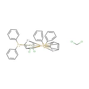 dichloro(1,1'-bis(diphenylphosphanyl)ferrocene)palladium(II) dichloromethane adduct,CAS No. 95464-05-4.