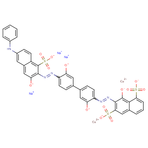 Cuprate(3-), [?-[7-[[3,3'-dihydroxy- 4'-[[1-hydroxy-6-(phenylamino)-3-sulfo-2-naphthalenyl ]azo][1,1'-biphenyl]-4-yl]azo]-8-hydroxy-1,6-naphthalenedisulfonat o(7-)]]di-, trisodium,CAS No. 6656-03-7.