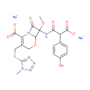 6(R),7(R)-7-<2(R)-carboxy-2-(4-hydroxyphenyl)acetamido>-7-methoxy-3-<<(1-methyl-1H-tetrazol-5-yl)thio>-methyl>-8-oxo-5-oxa-1-azabicyclo<4.2.0>oct-2-ene-2-carboxylic acid disodium salt,CAS No. 64953-12-4.