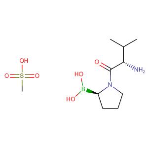 Methanesulfonic acid ((R)-1-((S)-2-amino-3-methylbutanoyl)pyrrolidin-2-yl)boronic acid (1:1),CAS No. 150080-09-4.