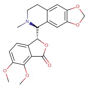6,7-dimethoxy-3-(6-methyl-7,8-dihydro-5H-[1,3]dioxolo[4,5-g]isoquinolin-5-yl)-3H-2-benzofuran-1-one,CAS No. 118-08-1.