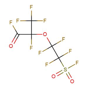 2,3,3,3-tetrafluoro-2-(1,1,2,2-tetrafluoro-2-fluorosulfonylethoxy)propanoyl fluoride,CAS No. 4089-57-0.