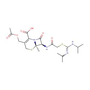 3-(acetyloxymethyl)-7-[[2-[N,N'-di(propan-2-yl)carbamimidoyl]sulfanylacetyl]amino]-8-oxo-5-thia-1-azabicyclo[4.2.0]oct-2-ene-2-carboxylic acid,CAS No. 33075-00-2.