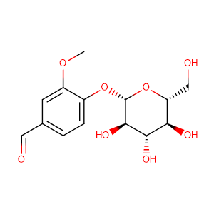 4-2-D-glucopyranosyloxy-3-methoxybenzaldehyde,CAS No. 494-08-6.
