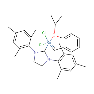 (1,3-Dimesitylimidazolidin-2-ylidene)(2-isopropoxybenzylidene)ruthenium(VI) chloride,CAS No. 301224-40-8.