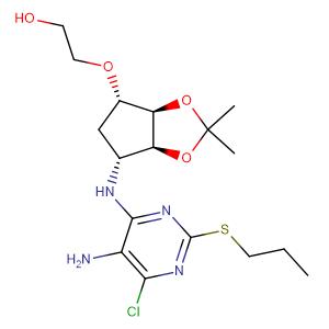 Ethanol, 2-[[(3aR,4S,6R,6aS)-6-[[5-aMino-6-chloro-2-(propylthio)-4-pyriMidinyl]aMino]tetrahydro-2,2-diMethyl-4H-cyclopenta-1,3-dioxol-4-yl]oxy]-,CAS No. 376608-74-1.