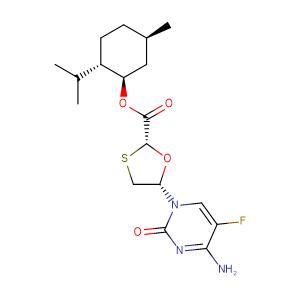 (2R,5S)-5-(4-amino-5-fluoro-2-oxo-2H-pyrimidin-1-yl)-[1,3]-oxathiolane-2-carboxylic acid, 2S-isopropyl-5R-methyl-1R-cycIohexyl ester,CAS No. 764659-72-5.