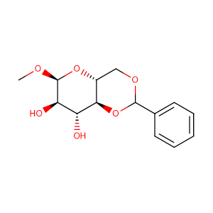 (4aR,6S,7R,8R,8aS)-6-Methoxy-2-phenylhexahydropyrano[3,2-d][1,3]dioxine-7,8-diol,CAS No. 3162-96-7.