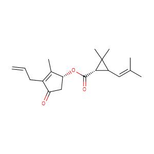 (1RS)-trans-chrysanthemumic acid-((RS)-3-allyl-2-methyl-4-oxo-cyclopent-2-enyl ester),CAS No. 584-79-2.
