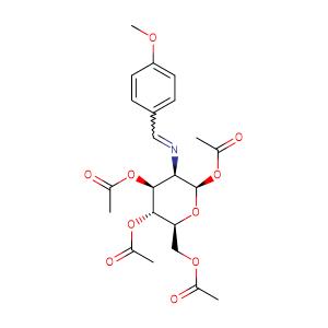 Acetic acid 4,5-diacetoxy-6-acetoxyMethyl-3-[(4-Methoxy-benzylidene)-aMino]-tetrahydro-pyran-2-yl ester,CAS No. 7597-81-1.