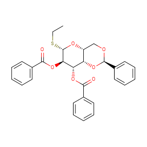(2R,4aR,6S,7R,8S,8aS)-7-(benzoyloxy)-6-(ethylsulfanyl)-2-phenyl-hexahydro-2H-pyrano[3,2-d][1,3]dioxin-8-yl benzoate,CAS No. 20701-63-7.